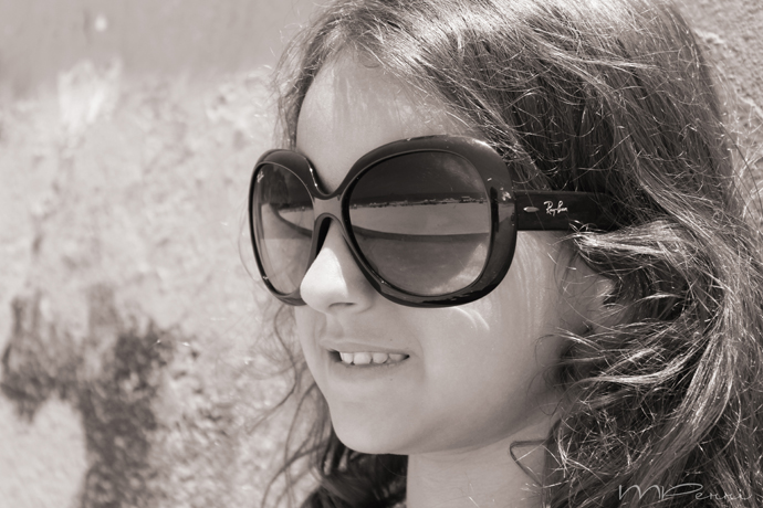 Fashion girl with glasses BW